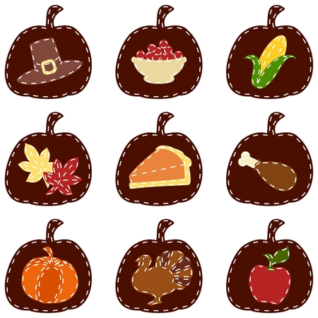 Nine thanksgiving-themed patches. Graphics are grouped and in several layers for easy editing. The file can be scaled to any size. Vector