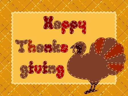 Cute postcard with a crosshatch background and a turkey for Thanksgiving. Graphics are grouped and in several layers for easy editing. The file can be scaled to any size.