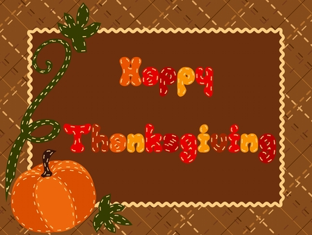 Cute postcard with a crosshatch background and a pumpkin for Thanksgiving. Graphics are grouped and in several layers for easy editing. The file can be scaled to any size. Ilustração