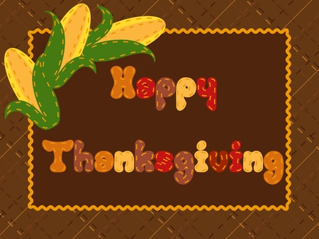crosshatch: Cute postcard with a crosshatch background and three cornears for Thanksgiving. Graphics are grouped and in several layers for easy editing. The file can be scaled to any size.