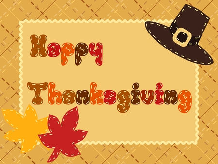 fall harvest: Cute postcard with a crosshatch background and pilgrim hat for Thanksgiving. Graphics are grouped and in several layers for easy editing. The file can be scaled to any size.