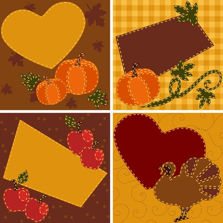 Four thanksgiving-themed cards in brownish tones. Graphics are grouped and in several layers for easy editing. The file can be scaled to any size.
