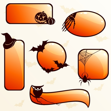 Five bright orange banners and buttons with a halloween theme. Graphics are grouped and in several layers for easy editing. The file can be scaled to any size. Illustration