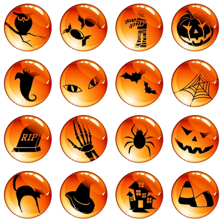 Collection of orange high-gloss icons with a halloween theme. Graphics are grouped and in several layers for easy editing. The file can be scaled to any size. Vector