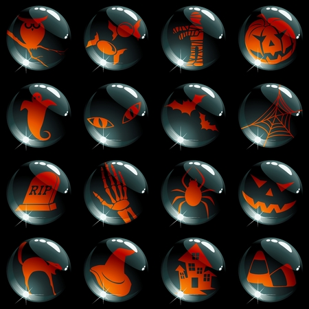 Collection of black high-gloss icons with a halloween theme. Graphics are grouped and in several layers for easy editing. The file can be scaled to any size.
