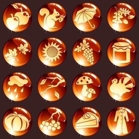 preserves: iconos de alto brillo c�lidos 16 para el oto�o. Se agrupan los gr�ficos y en varias capas para facilitar su edici�n. El archivo se puede escalar a cualquier tama�o.