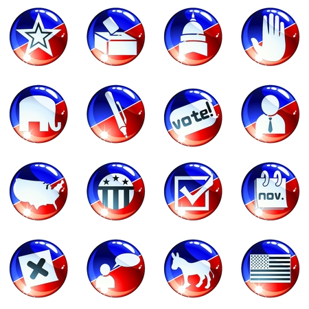 scaled: Set of glossy round buttons about politics. Graphics are grouped and in several layers for easy editing. The file can be scaled to any size. Illustration
