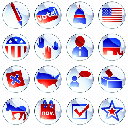 Set of glossy round buttons about politics. Graphics are grouped and in several layers for easy editing. The file can be scaled to any size.