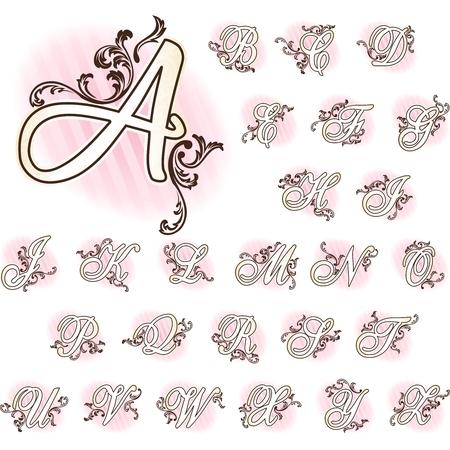 rococo style: Elegante conjunto de letras inspiradas en estilo rococ� franc�s. Se agrupan los gr�ficos y en varias capas para facilitar su edici�n. El archivo se puede escalar a cualquier tama�o.