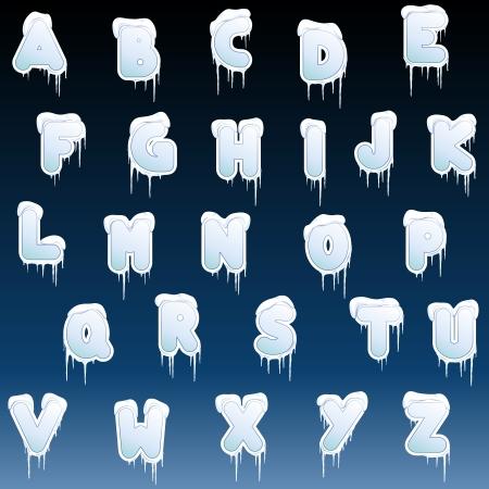 Letter set met een sneeuw en ijs pegel ontwerp. Graphics zijn gegroepeerd en in meerdere lagen voor eenvoudige bewerking. Het bestand kan worden geschaald naar elke grootte.