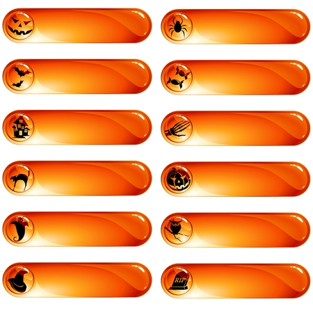 Collection of orange high-gloss labels with a halloween theme. Graphics are grouped and in several layers for easy editing. The file can be scaled to any size. Vector