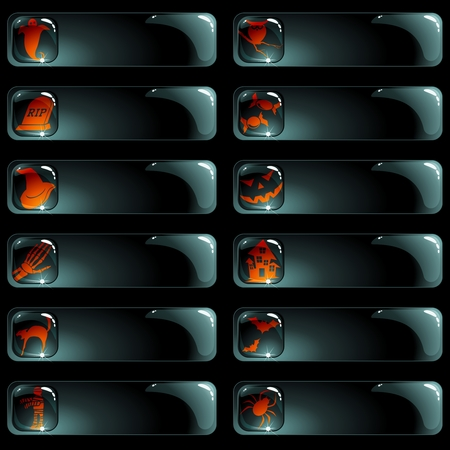 Collection of black high-gloss labels with a halloween theme. Graphics are grouped and in several layers for easy editing. The file can be scaled to any size. Vector