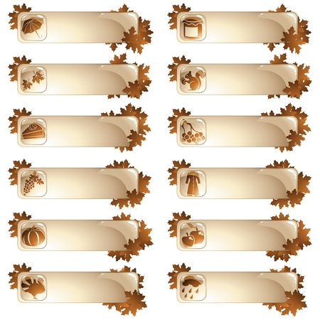 Collection of high-gloss seasonal autumn labels. Graphics are grouped and in several layers for easy editing. The file can be scaled to any size.