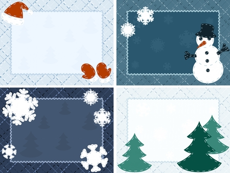 Cute seasonal postcards with a crosshatch background. Graphics are grouped and in several layers for easy editing. The file can be scaled to any size.