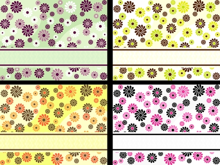 Four horizontal 1960s1970s retro banners in bright colors. The tiles can be combined seamlessly. Graphics are grouped and in several layers for easy editing. The file can be scaled to any size. Vector