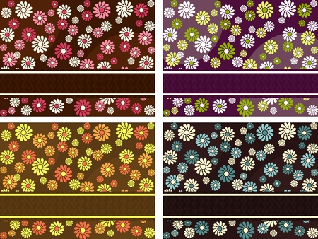style: Four horizontal 1960s1970s retro banners in dark colors. The tiles can be combined seamlessly. Graphics are grouped and in several layers for easy editing. The file can be scaled to any size.