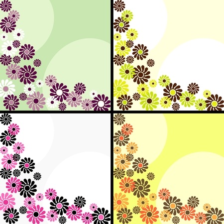 Four 1960s1970s retro backgrounds in bright colors. The tiles can be combined seamlessly. Graphics are grouped and in several layers for easy editing. The file can be scaled to any size. Vector