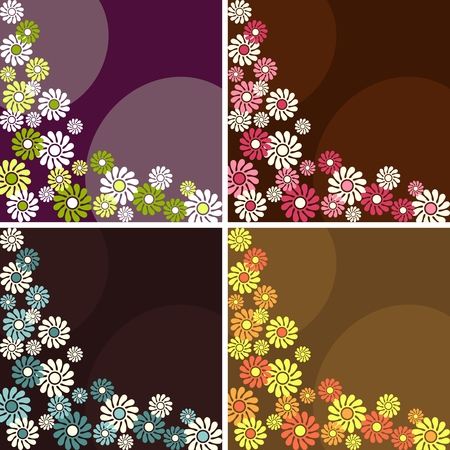 Four 1960s1970s retro backgrounds in dark colors. The tiles can be combined seamlessly. Graphics are grouped and in several layers for easy editing. The file can be scaled to any size. Vector