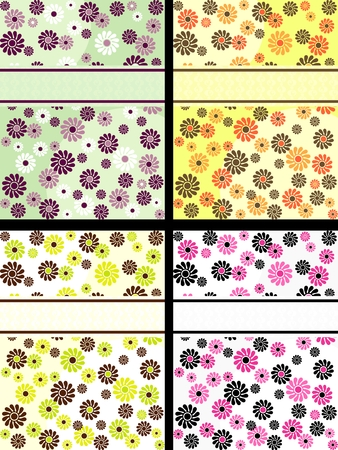 Four vertical 1960s1970s retro banners in bright colors. The tiles can be combined seamlessly. Graphics are grouped and in several layers for easy editing. The file can be scaled to any size. Vector