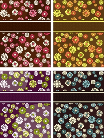 Four vertical 1960s1970s retro banners in dark colors. The tiles can be combined seamlessly. Graphics are grouped and in several layers for easy editing. The file can be scaled to any size. Vector