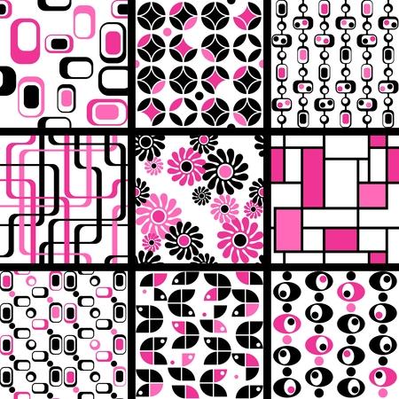 Negen roze en zwarte jaren 1960 mod naadloze patronen. De tegels kunnen naadloos worden gecombineerd. Graphics zijn gegroepeerd en in meerdere lagen voor eenvoudige bewerking. Het bestand kan worden geschaald naar elke grootte.