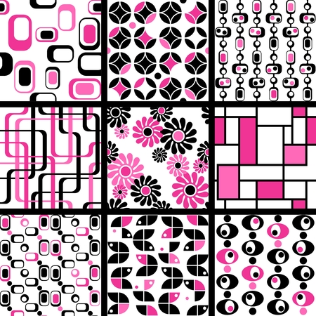 Nine pink and black 1960s mod seamless patterns. The tiles can be combined seamlessly. Graphics are grouped and in several layers for easy editing. The file can be scaled to any size. Illustration