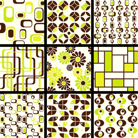 Nine green and brown 1960s mod seamless patterns. The tiles can be combined seamlessly. Graphics are grouped and in several layers for easy editing. The file can be scaled to any size.