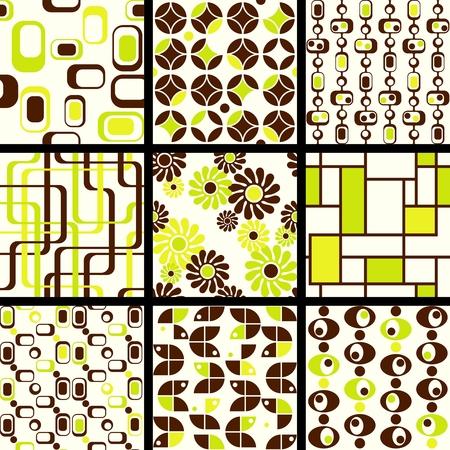repeatable texture: Nueve patrones transparente mod de verde y marr�n de los a�os 60. Los azulejos pueden combinarse de manera transparente. Se agrupan los gr�ficos y en varias capas para facilitar su edici�n. El archivo se puede escalar a cualquier tama�o.  Vectores