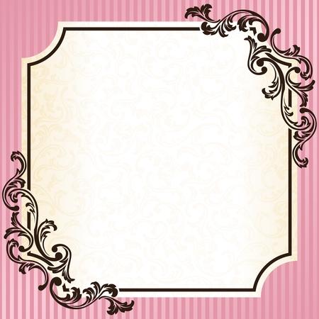 エレガントなピンクとゴールドのフレーム ロココ時代のデザインに触発さ。グラフィックをグループ化および簡単な編集のためのいくつかの層。フ  イラスト・ベクター素材