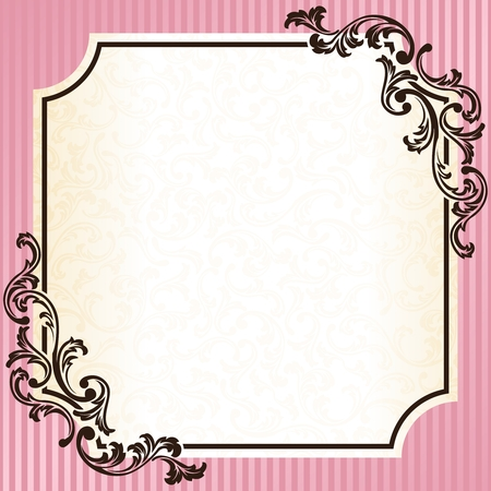 Elegant pink and gold frame inspired by Rococo era designs. Graphics are grouped and in several layers for easy editing. The file can be scaled to any size.