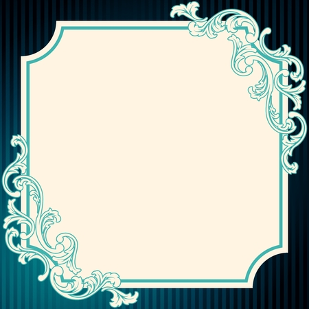 Elegant deep blue frame inspired by Rococo era designs. Graphics are grouped and in several layers for easy editing. The file can be scaled to any size. Vector