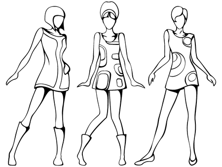 fashion design: Sketch of three women in 1960s mod dresses. Graphics are grouped and in several layers for easy editing. The file can be scaled to any size.