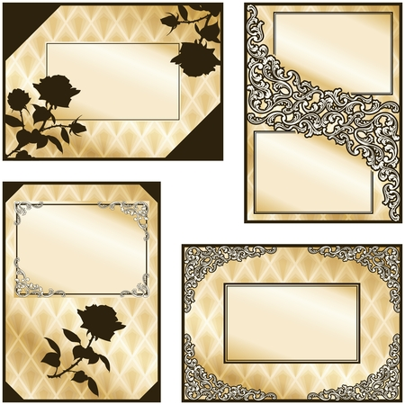 Collection of elegant brown and gold labels inspired by Victorian era designs. Graphics are grouped and in several layers for easy editing. The file can be scaled to any size.