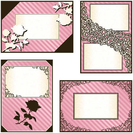 Collection of elegant pink and gold labels inspired by Rococo era designs. Graphics are grouped and in several layers for easy editing. The file can be scaled to any size. Vector