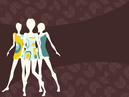 party outfit: Brown mod banner with female silhouettes. Graphics are grouped and in several layers for easy editing. The file can be scaled to any size. Illustration