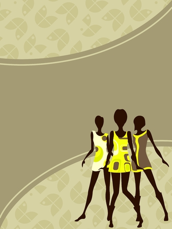 party outfit: Olive green mod banner with female silhouettes. Graphics are grouped and in several layers for easy editing. The file can be scaled to any size. Illustration