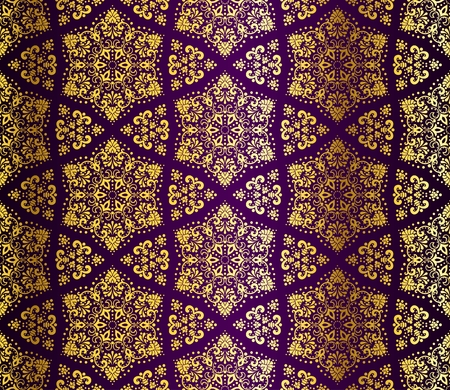 Seamless purple and gold starshaped pattern inspired by Islamic art.  The tiles can be combined seamlessly. Graphics are grouped and in several layers for easy editing. The file can be scaled to any size. Vector