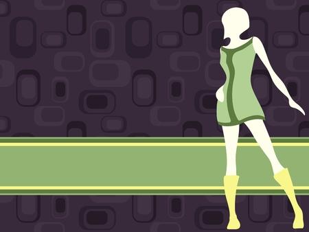 mod 소녀 실루엣 보라색과 녹색 복고 배너입니다. 그래픽 쉽게 편집 할 수 있도록 여러 레이어에 그룹화됩니다. 파일은 어떤 크기로도 확장 할 수 있습