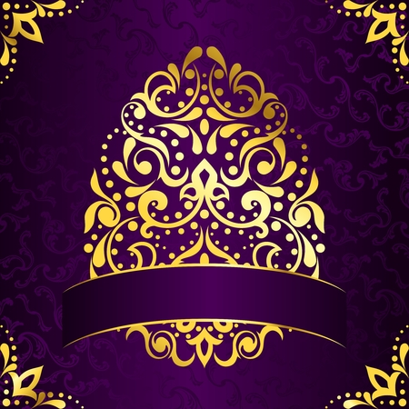 Vintage purple background with intricate easter egg design. Graphics are grouped and in several layers for easy editing. The file can be scaled to any size.