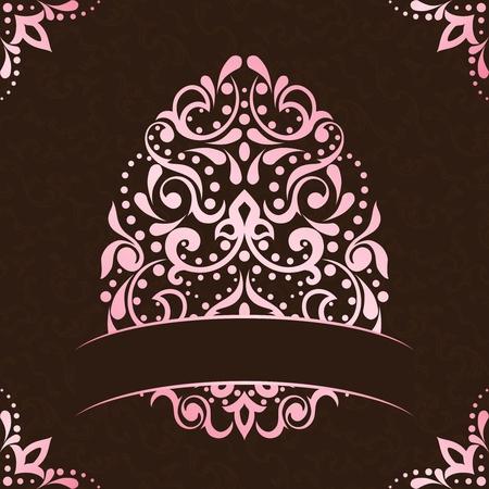 複雑なイースターエッグ デザインとビンテージ ピンクと茶色の背景。グラフィックをグループ化および簡単な編集のためのいくつかの層。ファイル  イラスト・ベクター素材