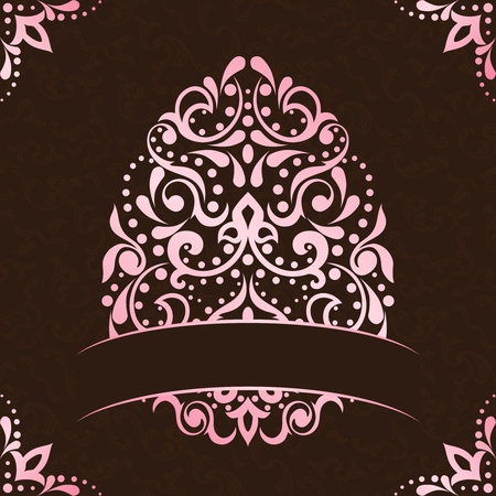 Vintage pink and brown background with intricate easter egg design. Graphics are grouped and in several layers for easy editing. The file can be scaled to any size.