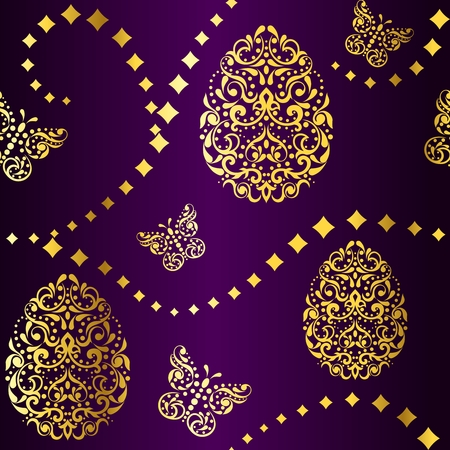 Vintage purple seamless background with intricate easter egg design. Graphics are grouped and in several layers for easy editing. The file can be scaled to any size. Vector