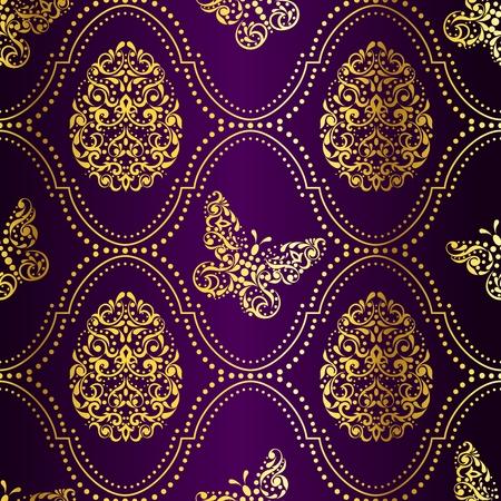 複雑なイースターエッグ デザインとビンテージ紫色のシームレスな背景。グラフィックをグループ化および簡単な編集のためのいくつかの層。ファ
