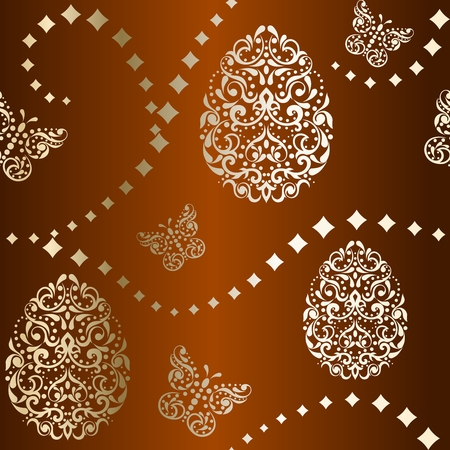 gold egg: Vintage brown seamless background with intricate easter egg design. Graphics are grouped and in several layers for easy editing. The file can be scaled to any size.