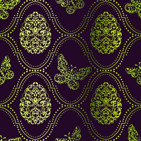 Vintage green seamless background with intricate easter egg design. Graphics are grouped and in several layers for easy editing. The file can be scaled to any size.