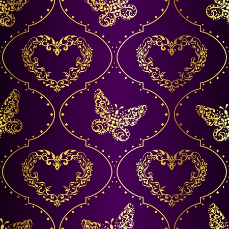 grouped: Romantic purple vintage seamless background with intricate design. Graphics are grouped and in several layers for easy editing. The file can be scaled to any size.