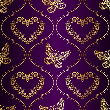 Romantische paarse vintage naadloze achtergrond met ingewikkelde ontwerp. Graphics zijn gegroepeerd en in meerdere lagen voor eenvoudige bewerking. Het bestand kan worden geschaald naar elke grootte.