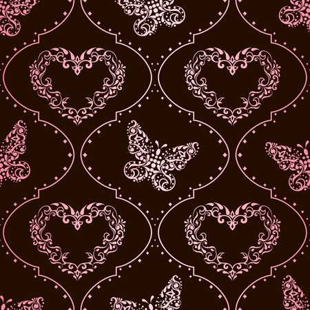 Romantic pink and brown vintage seamless background with intricate design. Graphics are grouped and in several layers for easy editing. The file can be scaled to any size. Vector