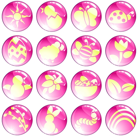 16 brightly colored spring and easter icons. Graphics are grouped and in several layers for easy editing. The file can be scaled to any size. Vector