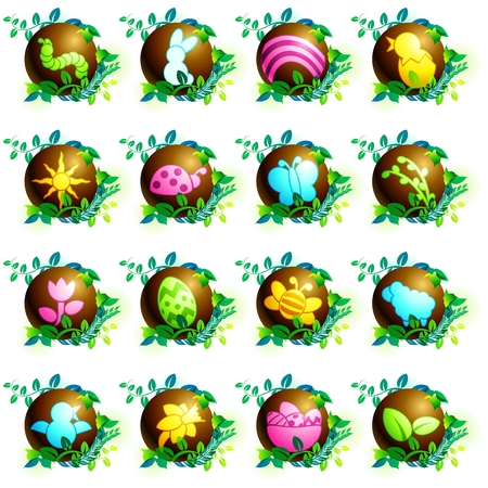 16 brightly colored chocolate easter icons. Graphics are grouped and in several layers for easy editing. The file can be scaled to any size. Vector